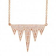 Madison E 0.44ct 14k Rose Gold Diamond Pave Necklace