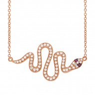 Madison E 0.31ct Diamond & 0.02ct Ruby 14k Rose Gold Snake Necklace