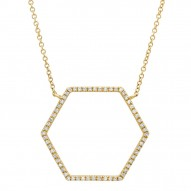 Madison E 0.25ct 14k Yellow Gold Diamond Hexagon Necklace