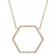 Madison E 0.25ct 14k Rose Gold Diamond Hexagon Necklace