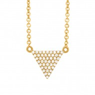 Madison E 0.13ct 14k Yellow Gold Diamond Pave Triangle Necklace