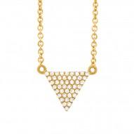 Madison E 0.13ct 14k Yellow Gold Diamond Pave Triangle Necklace