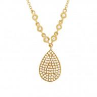 Madison E 0.26ct 14k Yellow Gold Diamond Pave Necklace