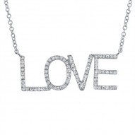 "Madison E 0.21ct 14k White Gold Diamond ""Love"" Necklace"