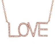 "Madison E 0.21ct 14k Rose Gold Diamond ""Love"" Necklace"