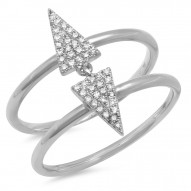 Madison E 0.14ct 14k White Gold Diamond Pave Triangle Ring
