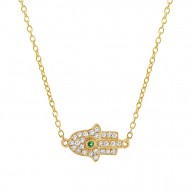Madison E 0.08ct Diamond & 0.01ct Emerald 14k Yellow Gold Hamsa Necklace