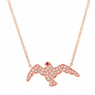 Madison E 0.20ct Diamond & 0.01ct Ruby 14k Rose Gold Eagle Necklace