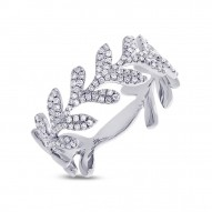 Madison E 0.30ct 14k White Gold Diamond Leaf Ring