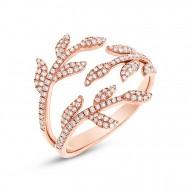 Madison E 0.44ct 14k Rose Gold Diamond Leaf Ring