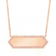 Madison E 0.12ct 14k Rose Gold Diamond Bar ID Necklace