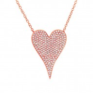 Madison E 0.43ct 14k Rose Gold Diamond Heart Necklace