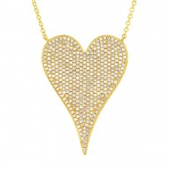 Madison E 0.83ct 14k Yellow Gold Diamond Heart Necklace