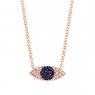Madison E 0.07ct Diamond & 0.11ct Blue Sapphire 14k Rose Gold Eye Necklace