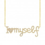 "Madison E 0.36ct 14k Yellow Gold Diamond ""I love myself"" Pendant"