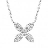 Madison E 0.20ct 14k White Gold Diamond Flower Pendant