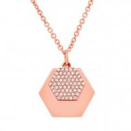 Madison E 0.14ct 14k Rose Gold Diamond Hexagon Pendant