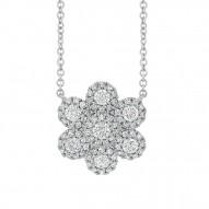 Madison E 0.47ct 14k White Gold Diamond Flower Necklace