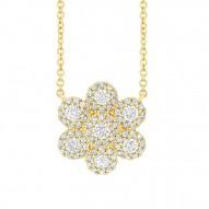 Madison E 0.47ct 14k Yellow Gold Diamond Flower Necklace