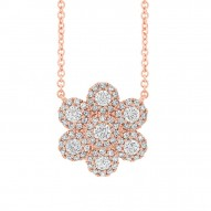 Madison E 0.47ct 14k Rose Gold Diamond Flower Necklace