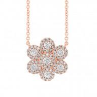 Madison E 0.47ct 14k Rose Gold Diamond Flower Necklace