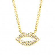Madison E 0.08ct 14k Yellow Gold Diamond Pave Lips Pendant