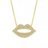 Madison E 0.36ct 14k Yellow Gold Diamond Pave Lips Pendant