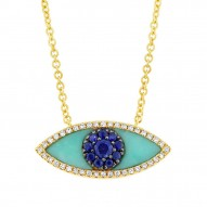 Madison E 0.09ct Diamond & 0.65ct Blue Sapphire & Composite Turquoise 14k Yellow Gold Eye Necklace