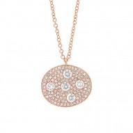 Madison E 0.54ct 14k Rose Gold Diamond Pave Oval Necklace