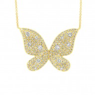 Madison E 0.69ct 14k Yellow Gold Diamond Butterfly Necklace