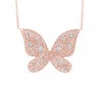 Madison E 0.69ct 14k Rose Gold Diamond Butterfly Necklace