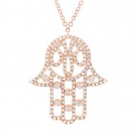 Madison E 0.35ct 14k Rose Gold Diamond Hamsa Necklace