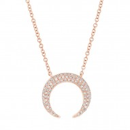 Madison E 0.20ct 14k Rose Gold Diamond Pave Crescent Necklace