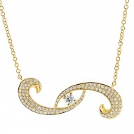 Madison E 0.27ct 14k Yellow Gold Diamond Eye Necklace