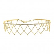 Madison E 0.79ct 14k Yellow Gold Diamond Choker Necklace