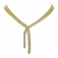 Madison E 2.66ct 14k Yellow Gold Diamond Feather Lariat Necklace