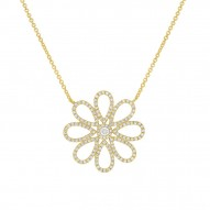 Madison E 0.47ct 14k Yellow Gold Diamond Flower Necklace