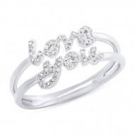 "Madison E 0.11ct 14k White Gold Diamond ""Love You"" Ring Size 5"