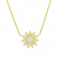 Madison E 0.18ct 14k Yellow Gold Diamond Flower Necklace