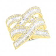 Madison E 2.14ct 14k Yellow Gold Diamond Baguette Ring