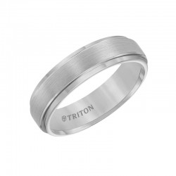 Grey Tungsten Carbide Satin Finish Flat Center with Bright Step Edge Comfort Fit Band.