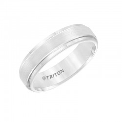 White Tungsten Carbide Satin Finish Flat Center with Bright Step Edge Comfort Fit Band.