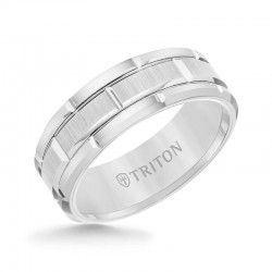 White Tungsten Carbide Bevel Edge Comfort Fit Band with Vertical Satin Finish Center and Bright Edges and Cuts