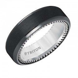 Bevel Edge Black Titanium and Sterling Silver Comfort Fit Band with Coin Edge Texture Side Treatment and Satin Finish