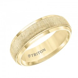 Low Dome Yellow Tungsten Carbide Band with Vertical Brush Finish and Bright Rims