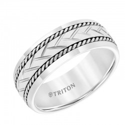White Tungsten Carbide Band with Woven Center, Sterling Silver Rope with  Brush Finish and Bright Rims