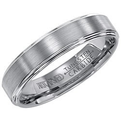 Gents Tungsten Carbide Lowell 5mm Flat Wedding Band With Matte Finish Center