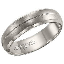 Titanium 6mm Gents Benton Wedding Band With Engraved Center Line