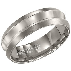 Titanium 7mm Gents Walden Wedding Band With High Polish Indented Center