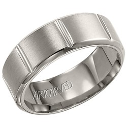 Titanium 8mm Gents Sullivan Wedding Band With Vertical Engraved Lines